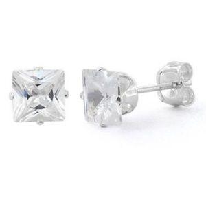 Jewelry - Sterling Silver Princess Cut 5mm CZ Earrings